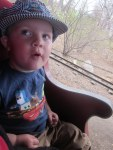 Spencer on the train at the zoo