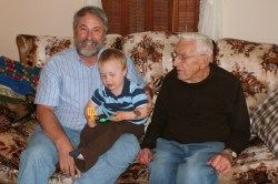 Dave, Spencer, and Great Grandpa Dibble