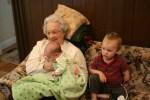 Great Grandma, Meg, and Spencer relaxing in the den