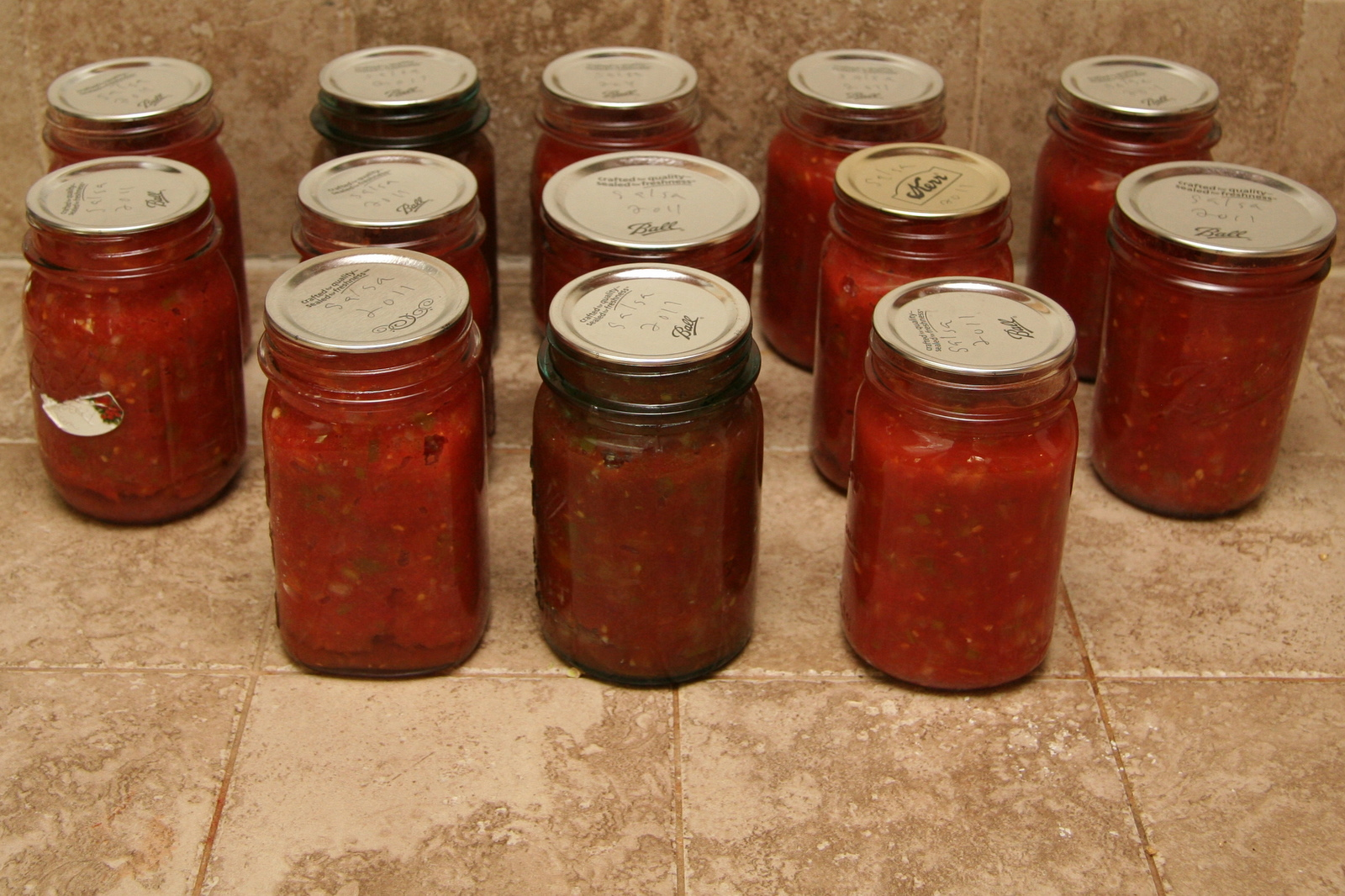 13 pints of canned salsa