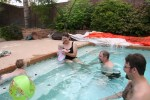 Playing in the pool at the Dibbles' house