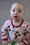 Meg in her christmas pajamas