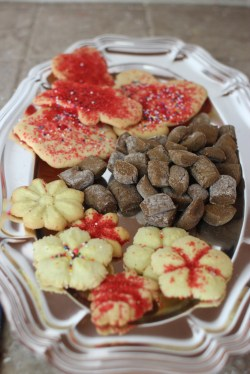 Cookie tray - spritz, peppernuts, and cut-out cookies