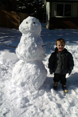 Spencer and  our snowman