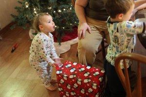 Meg opens Grandma's present