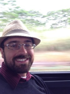 Rob on the bus to the hotel
