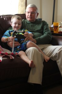 Grandpa Felty shows Spencer how to steer