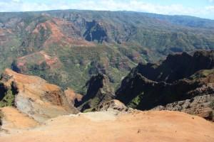 Looking down into Waimea canyon