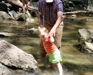 Barefoot on the slippery rocks