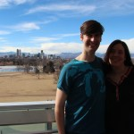Chris and Sarah with Denver and the mountains in the background
