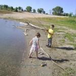 Spencer and Meg fishing