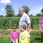 The kids check out William's farm
