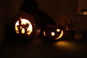 Pumpkins - a castle, and a starry face
