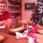 Drew and Dave enjoying breakfast casserole
