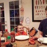 Bret, Spencer, and Drew enjoy an Asian Christmas dinner