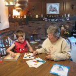 Spencer doing puzzles with grandma Felty