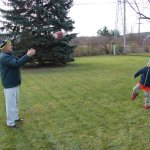 Spencer and Grandpa Felty playing football