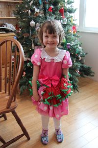Meg with her new clicky shoes and a tutu + dress