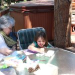 Meg painting with Aunt Jean