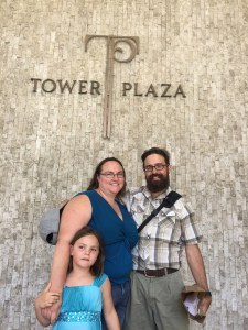 Meg, Clare, and Rob at Tower Plaza