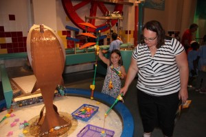 Clare and Meg fishing at the Hands-On museum