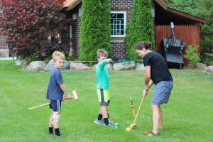 Casey playing croquet