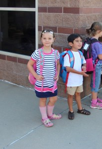Meg in line for first day of kindergarten