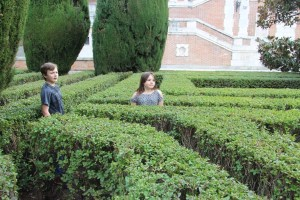 Meg and Spencer enjoyed the labyrinth-like hedges