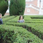 Meg and Spencer enjoyed the labyrinth-like hedges
