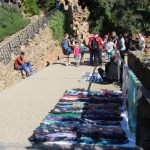 Hawking wares in Park Guell