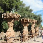 Cacti on pedestals in Park Guell