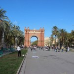 Looking back at the Arc de Triomf