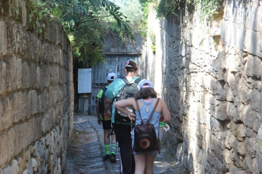 Heading down the narrow path to the baths