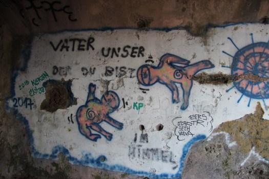 Graffiti inside the ruins