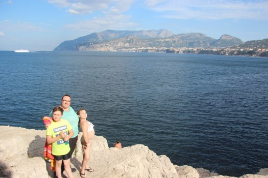 Spencer, Clare, and Meg with the view of the bay of Naples