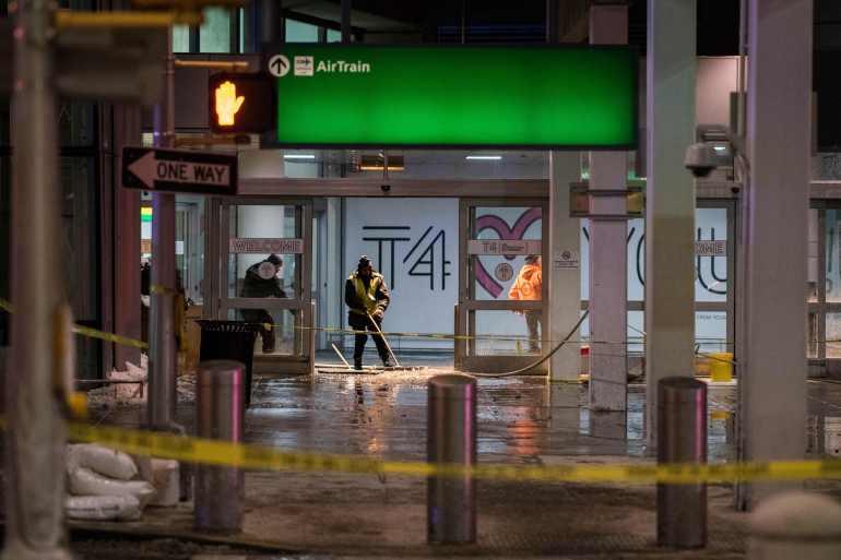 JFK International Airport,New York Airport,terminal flooded