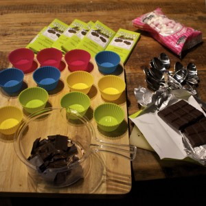 All the kit laid out to make hot chocolate spoons