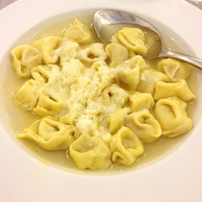 Tortellini in broth in Bologna, Italy!