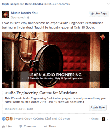 promoted facebook post