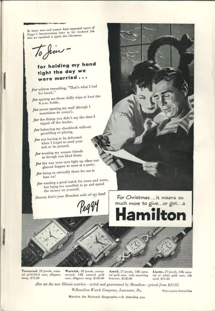 1953 Hamilton Vintage Print ads