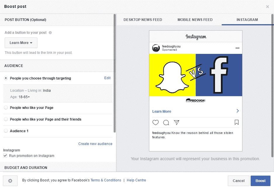 Facebook instagram ads