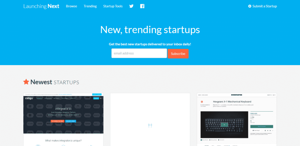 launching next submit startups