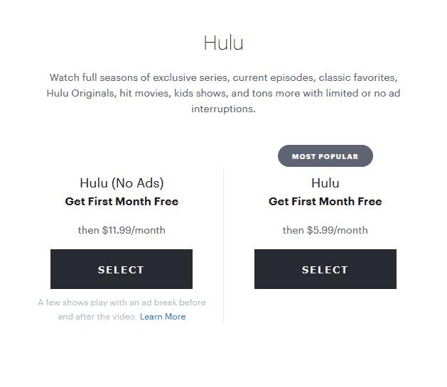 hulu subscriptions