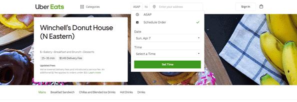 uber eats schedule time