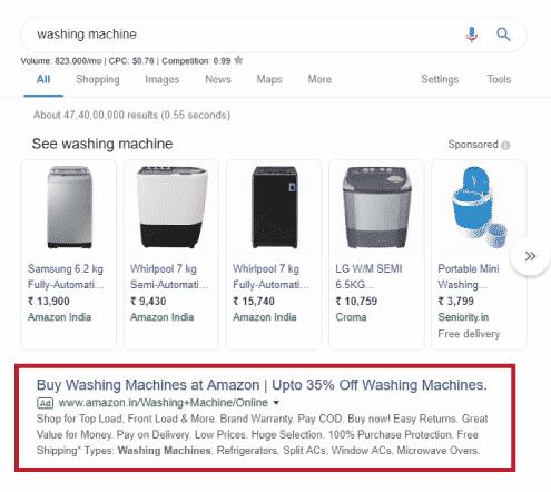Google search ad