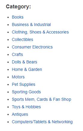ebay selling categories