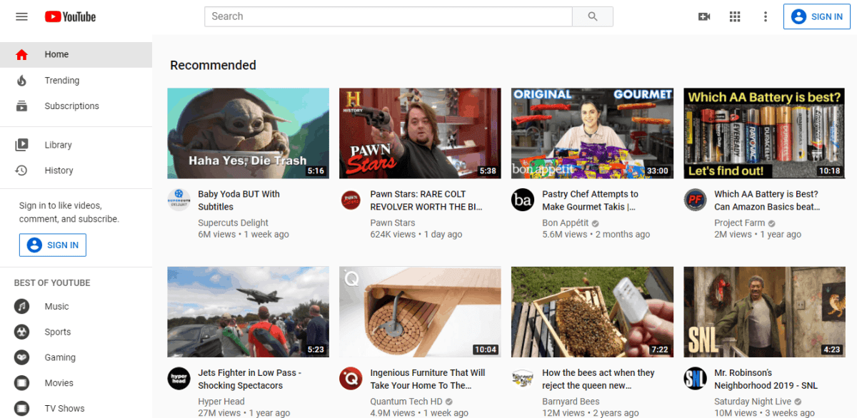 YouTube interface