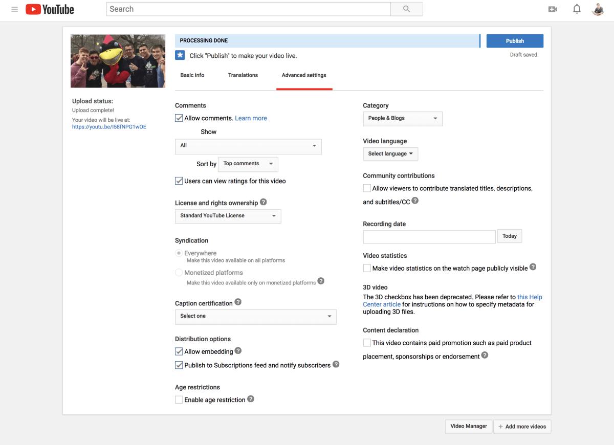 YouTube video upload