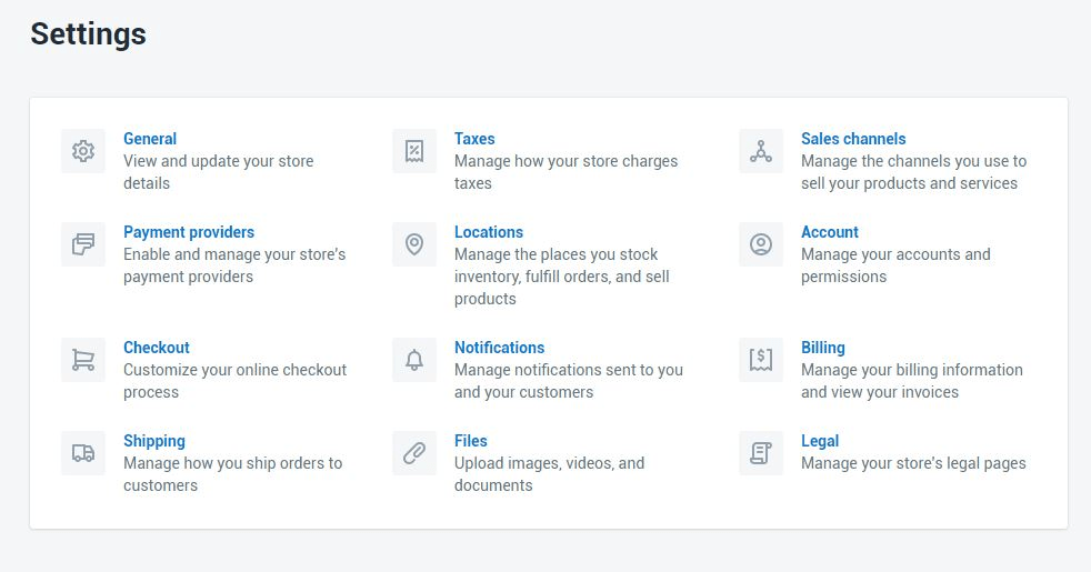 shopify store settings