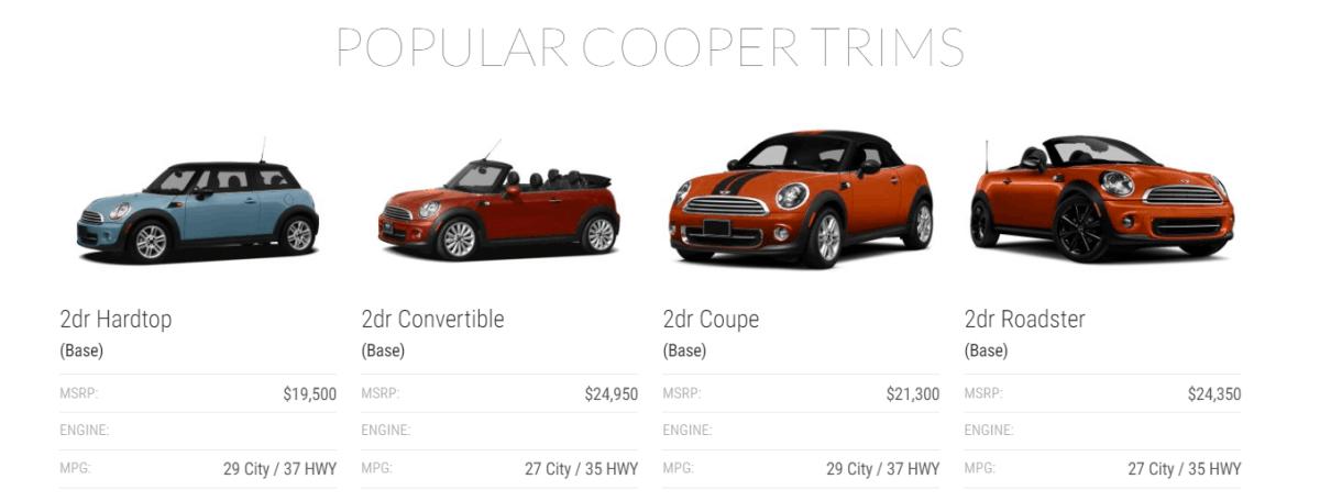 mini cooper prices